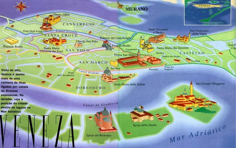 mapa veneza Mapa turístico de Veneza | Dicas da Itália mapa veneza
