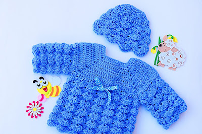 1 - Imagen gorro chambrita de abanicos en relieve a crochet. Majovel crochet