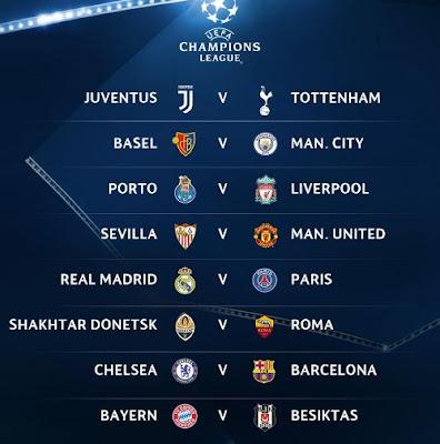 Hasil Lengkap Undian 16 Besar Liga Champions