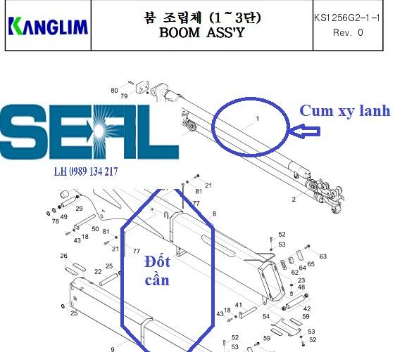 Đốt cần - cụm xy lanh ra vào cần của cẩu Kanglim 6 tấn KS1253-KS1254-KS1255-KS1256