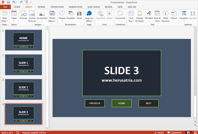 Cara Mudah Membuat Menu Navigasi Home, Next dan Previous pada PowerPoint