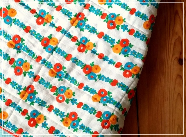 Simple Squares Patchwork Baby Quilt in Yellow, Orange and Blue backing by Puppilalla