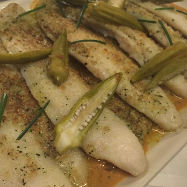 Baked Flounder with Okra and and Bread Crumbs