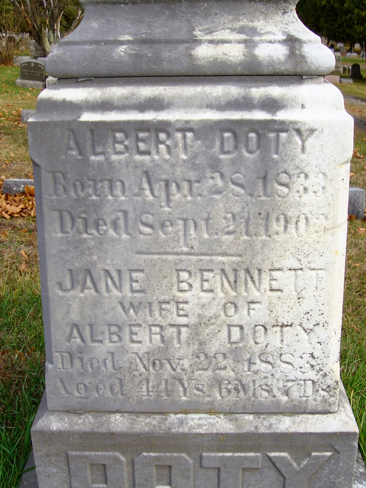 Albert Doty and Jane Bennett Tombstone, Wallkill Cemetery, Middletown, NY