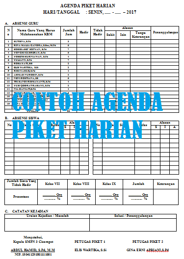 Contoh Format Agenda Piket Harian Siswa di Sekolah Versi Excel