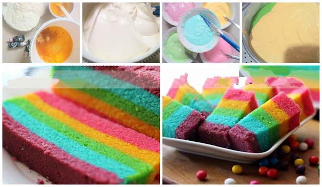 Cara Membuat Rainbow Cake Kukus