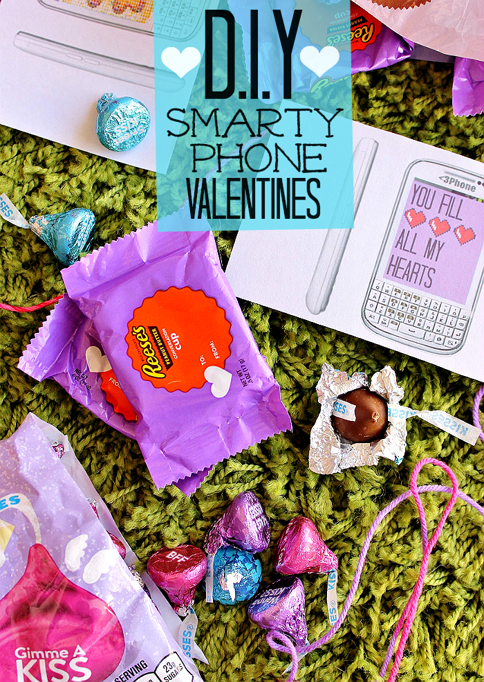 Share the #HSYMessageOfLove with these #NerdLove DIY Smarty Phone Valentines made with Hershey's Conversation Candies, exclusive to Target. Click to grab the free printable! #Sponsored