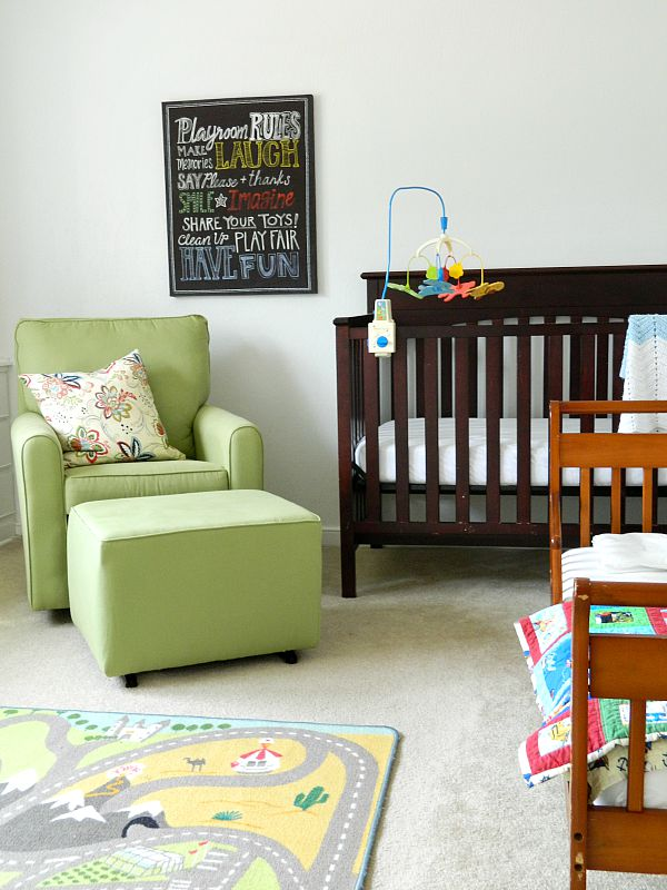 my top five favorite paint colors boys' vintage modern nursery bedroom bistro white walls green glider rocking chair wooden crib playground rules sign