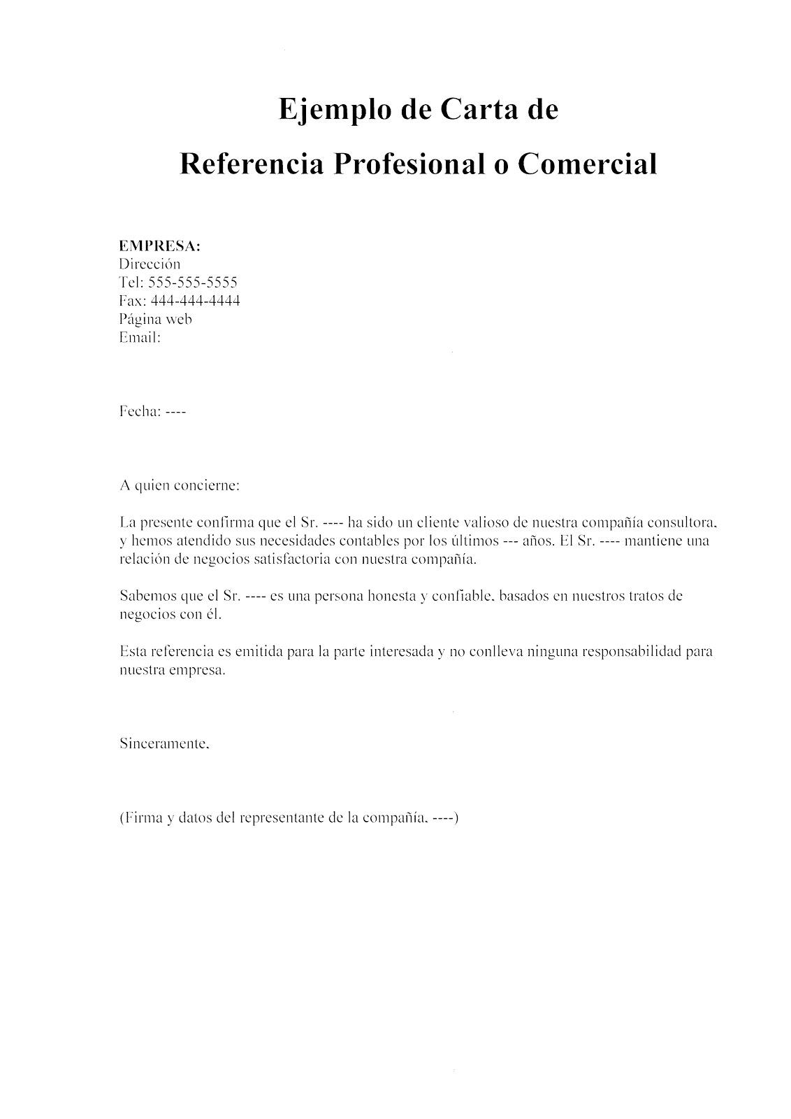 modelo de carta de referencia comercial