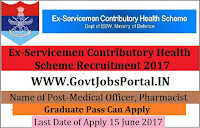 Ex-Servicemen Contributory Health Scheme Recruitment 2017– 46 Medical Officer, Pharmacist