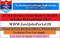 Ex-Servicemen Contributory Health Scheme Recruitment 2017– 46 Medical Officer, Pharmacist