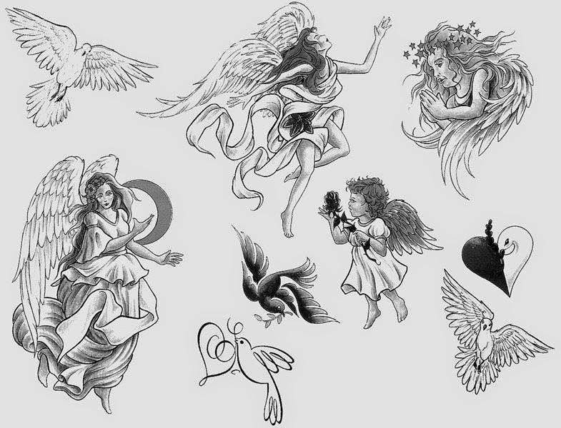 vemos a una mujer joven que lleva el tatuaje de un angel de la guarda