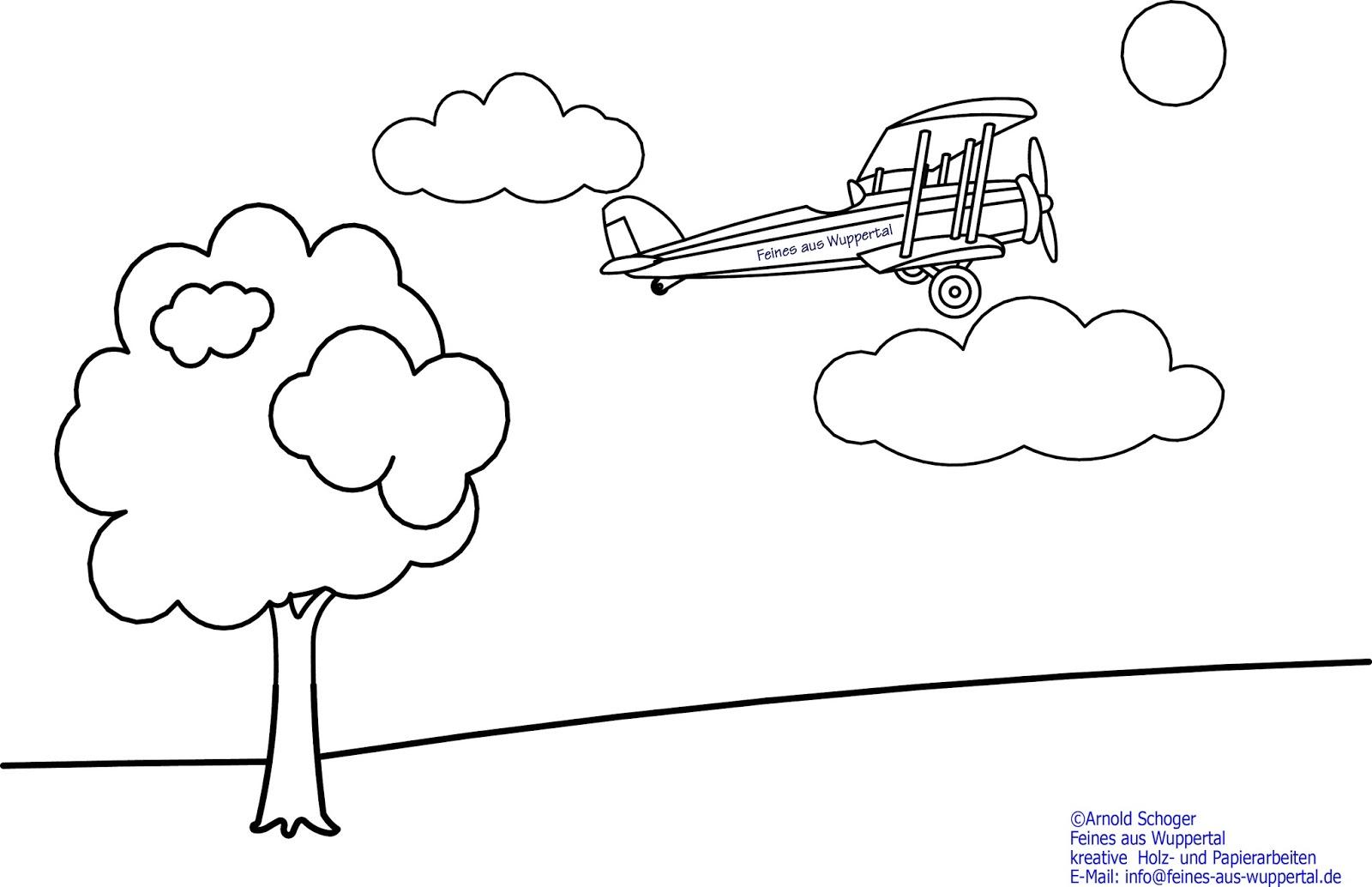 Gratis Ausmalbild Doppeldecker Flugzeug | Laubsägen und Holzwerken