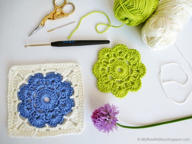 Free Crochet Rose Square Pattern : My Rose Valley: Maybelle Square Crochet Pattern