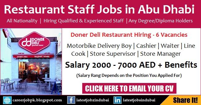 Restaurant Jobs in Abu Dhabi - Doner Deli Hiring Staff