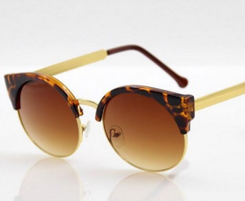 Vintage Cat Eye Gold Rim Half Frame Round Sunglasses