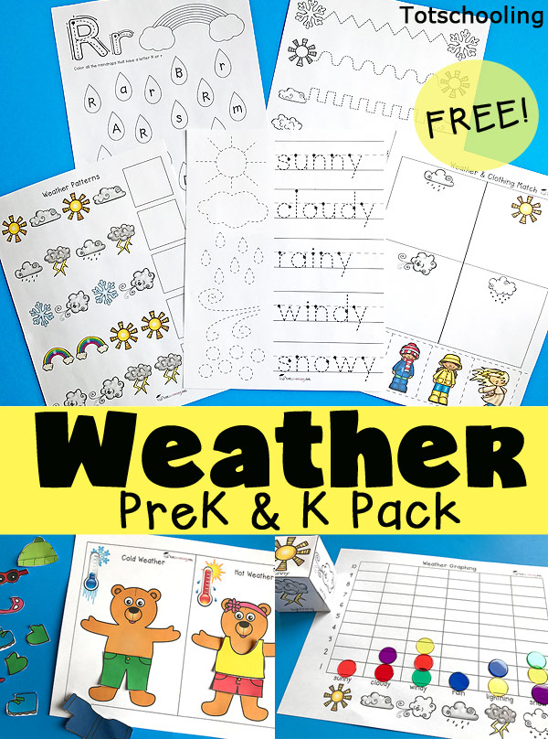 FREE Weather printable pack for preschool and kindergarten, perfect for a Spring weather unit. Learn about weather types, words, and clothing while practicing fine motor skills, graphing, patterns, and more. Also includes dress-up bears for hot and cold weather.