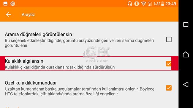 android vlc player Özel kulaklık kumandası  - www.ceofix.com