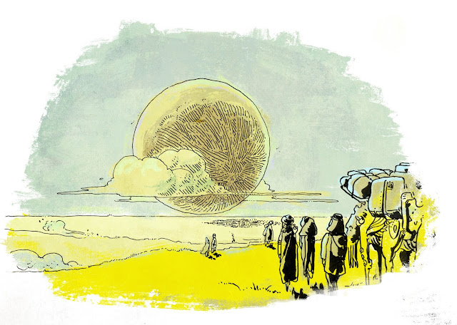 A moon obscured partially with clouds over a pale blue sky, over the horizon of bright yellow grasslands. A group of people emerge from the right, crossing in a caravan.
