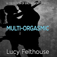 Multi-Orgasmic audiobook cover. A silhouetted man and woman embrace. The background is grey, and the title is splashed across the centre of the cover in bright blue text.