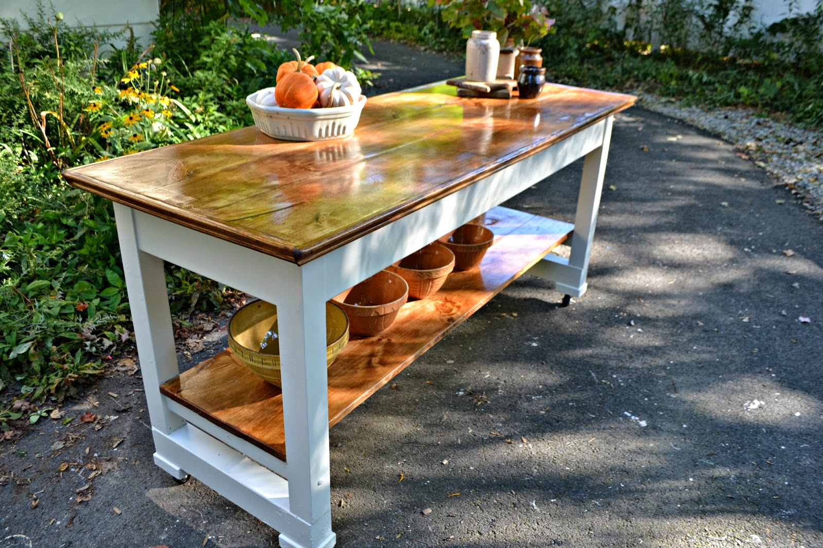 a vintage work bench turned kitchen kitchen work table Tuesday September 23