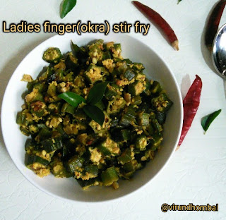Ladies finger(Okra) poriyal/stir fry - Ladies finger/okra is a high fibre vegetable and are easy to cook. When it comes to preparing a side dish for rice with ladies finger there are many interesting dishes that tastes good. This ladies finger poriyal is prepared with lots of chopped onions and coconuts. You can eat this poriyal simply as a salad. Be it a poriyal or sabzi, always use fresh ladies finger. Please avoid refrigeration for ladies finger because it loses its beautiful colour and texture. If you are using refrigeration use within 1 or 2 days. And one more point store them in a cotton cloth bag. After washing the ladies finger spread them in a towel for 30 minutes and then chop them. I always suggest to cook with less oil for any dishes made with ladies finger.  If you follow these simple instructions you can get perfect results. Now let's see how to prepare this poriyal.