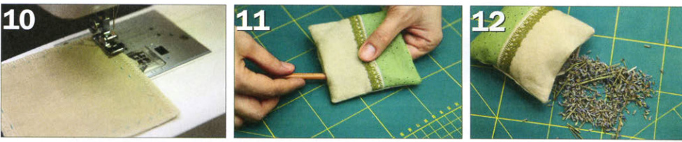 We sew linen and cotton sachets.