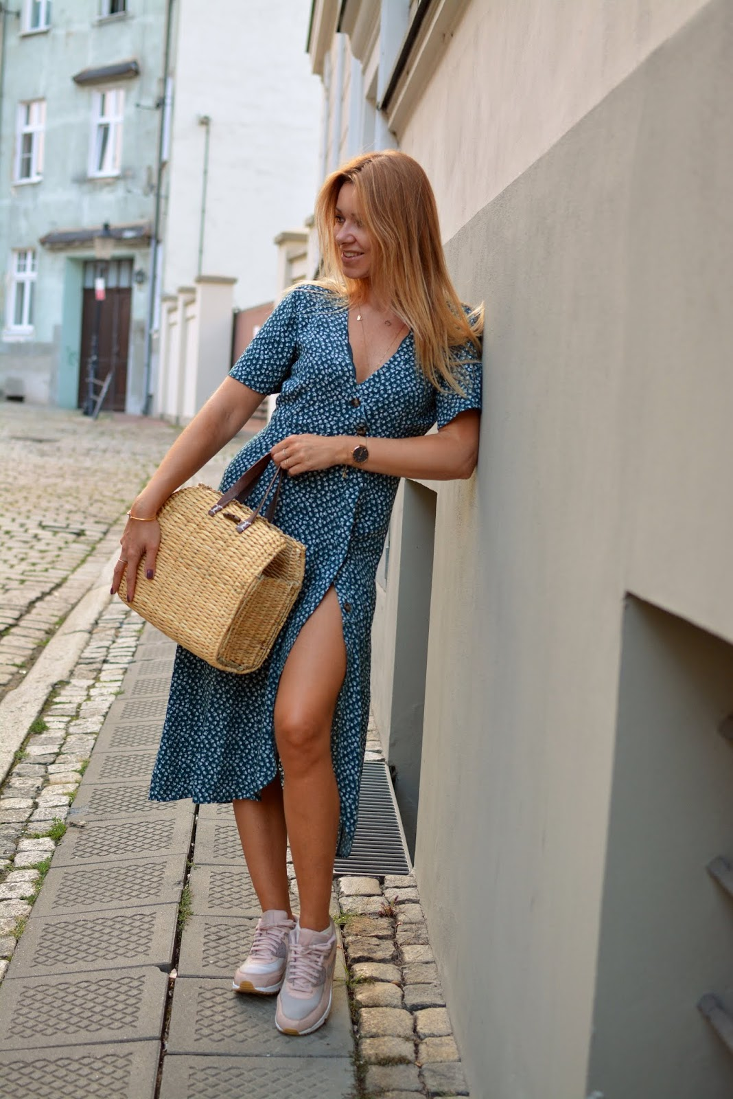 kosz, koszyk, torebka koszykowa, stylizacja, blog, blogger, poznan, sukienka midi, basket, bag