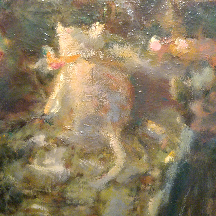 subtle white kitty detail from pierre bonnard painting