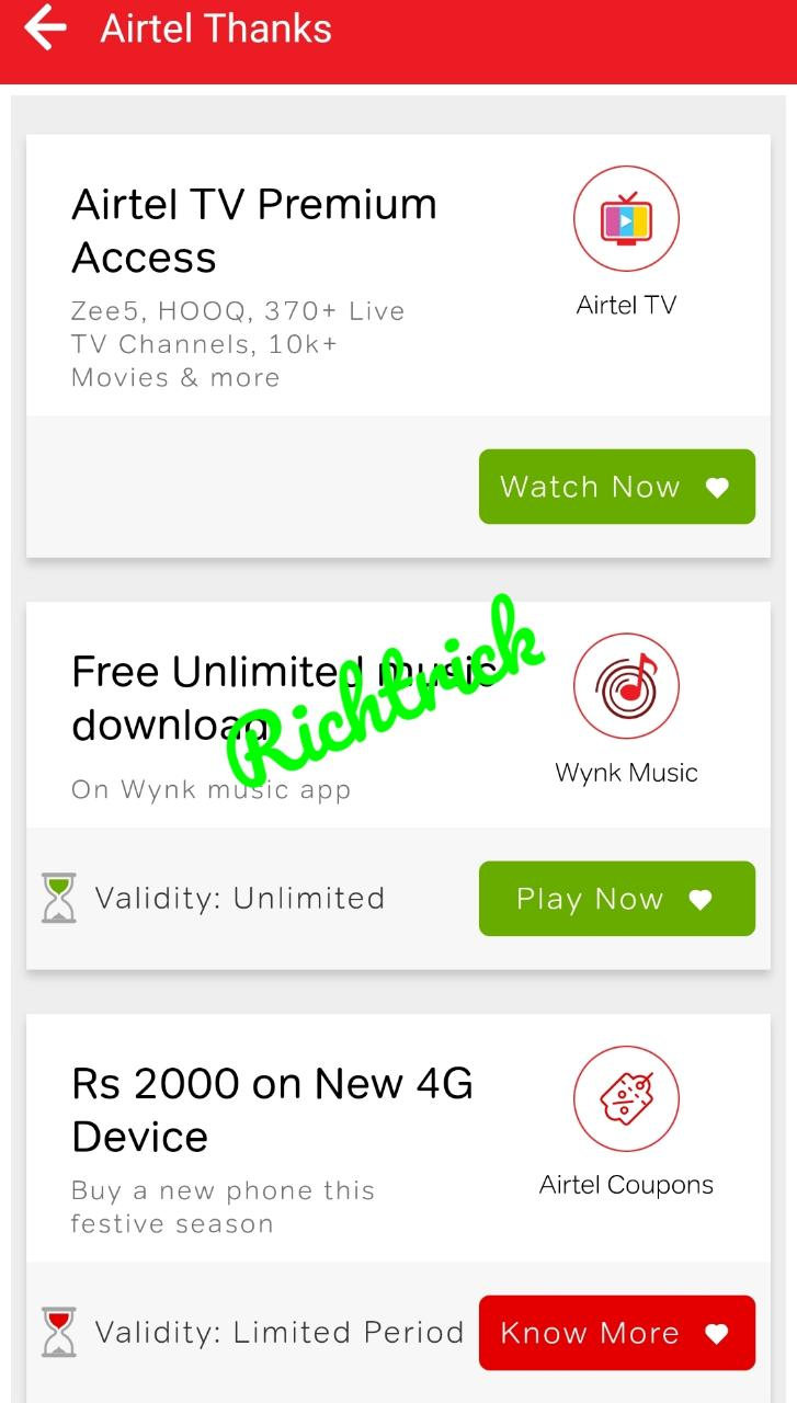 Airtel Thanks offers | Postpaid and Prepaid recharge offers