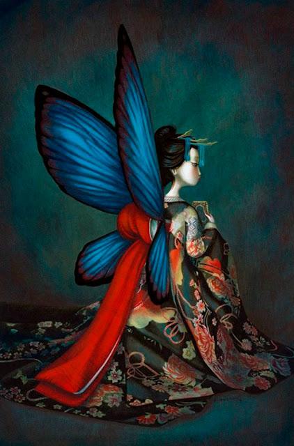 Imagen de gran belleza de inspiración oriental del libro Los Amantes Mariposa, escrito e ilustrado por el ilustrador francés Benjamin Lacombe