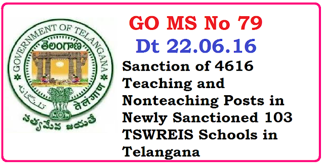 GO MS No 79 Sanction of 4616 Posts in Newly Sanctioned 103 TSWREIS These posts will be recruited by TSPSC Telangana State Public Service Commission Recruitment Notification will be given by TSPSC S.C.Development Department -Sanction of Teaching and Non-teaching Posts in the newly sanctioned (103) TSWR Schools for Boys and Girls, (30) Residential Degree Colleges for Girls and in the O/o. the Secretary, TSWREIS, Hyderabad to be run under /2016/06/go-ms-no-79-4616-teaching-non-teaching-posts-sanctioned-in-TSWREIS-103-schools.html Society-Orders - Issued