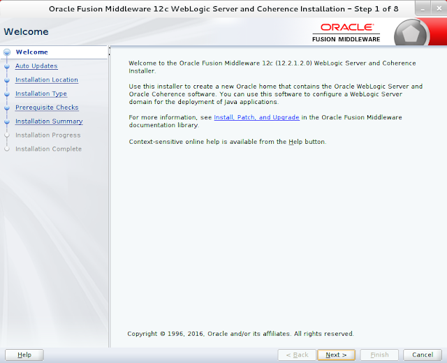 Weblogic Server Installation wizard screen 1