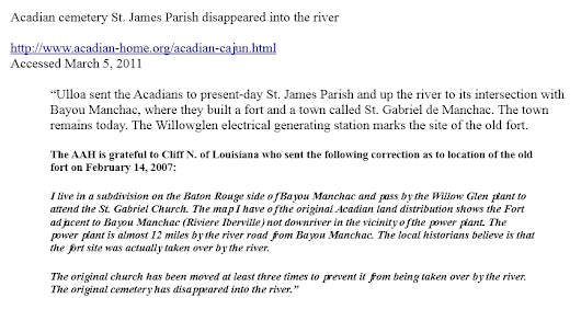 Bayou Manchac - Acadian cemetery Riviere Iberville lost