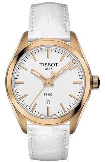 Ceas Tissot T1012103603101 dama auriu cu curea alba de piele
