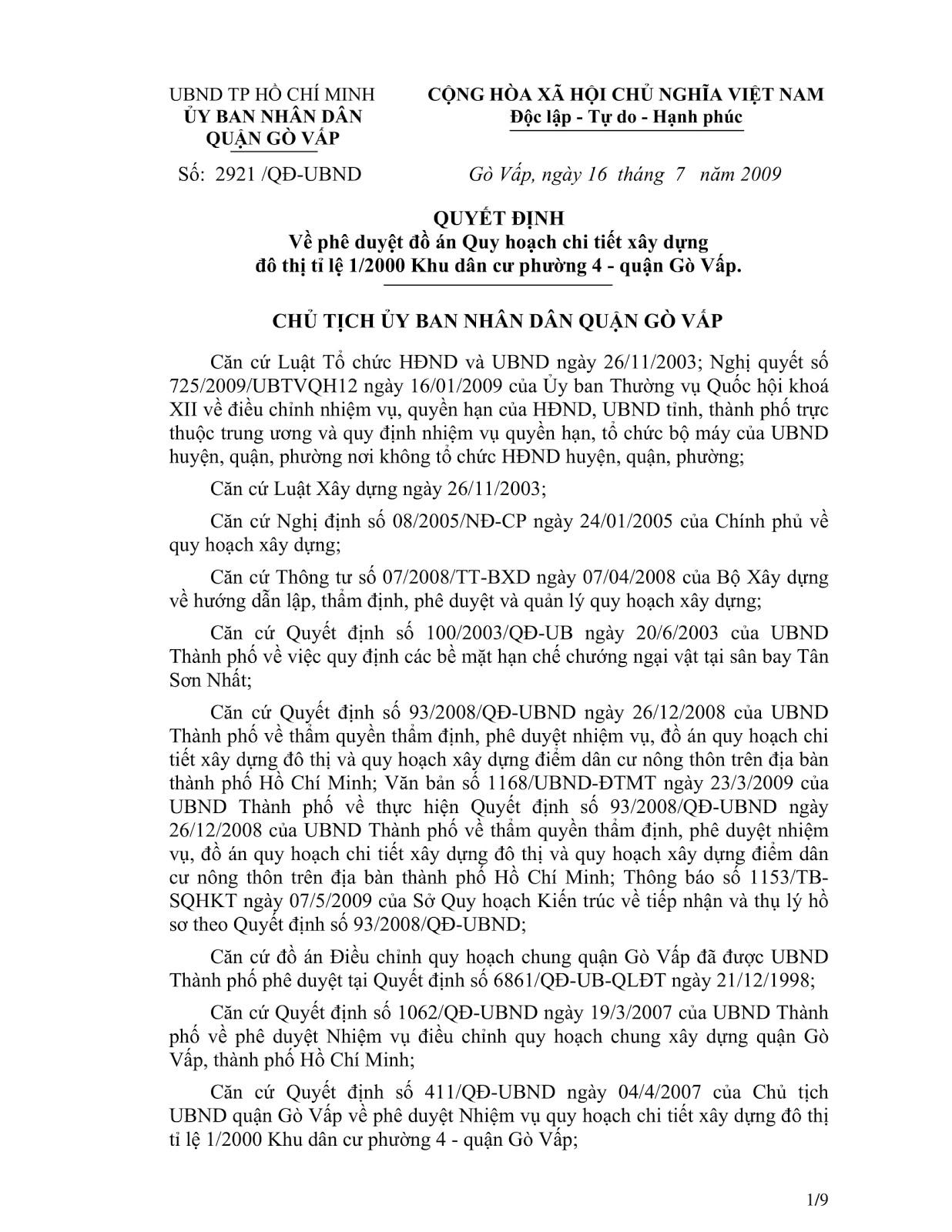 Quyết Định Số 2921/QĐ-UBND Quy Hoạch Khu Dân Cư Phường 4 Quận Gò Vấp Tờ 1