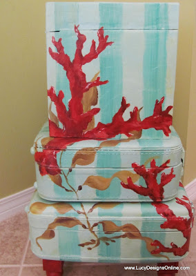 hand painted coral and kelp