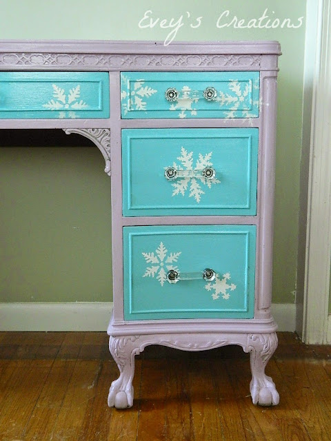 http://sweetsongbird.eveyscreations.com/2015/03/frozen-inspired-vanity-redodecoupage.html
