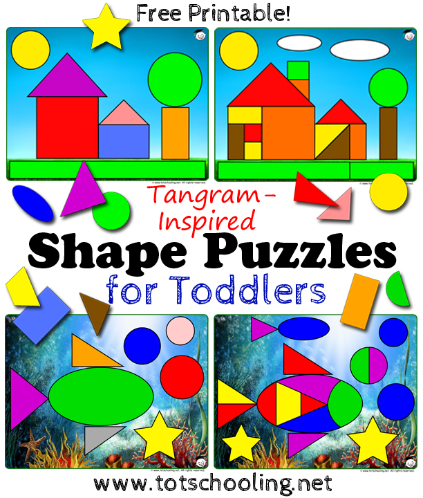 graphic regarding Printable Puzzles for Preschoolers called Tangram Condition Puzzles for Infants Totschooling - Infant