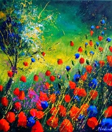 Papoulas Vermelhas e Azul - Cores fortes e vibrantes nas pinturas de Pol Ledent