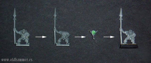 Oldhammer Hobgoblin with spear Conversion de Goblin monopose a Hobgoblin con lanza