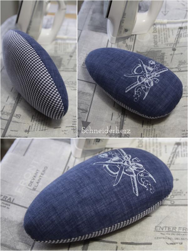 Bügelei Siebdruck Chambray Leinen blau Vichykaro