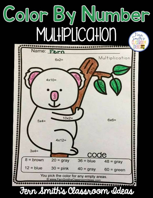 Free Color By Numbers Mixed Multiplication  Your students will adore this Awesome Animals Color Your Answers Worksheet for Mixed Multiplication. The answer key is also included, terrific for an Emergency Sub Tub or Homework! Fern Smith's Classroom Ideas