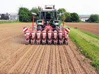 Traktör arkasına bağlı bir mibzer ile tarlaya tohum ekilmesi