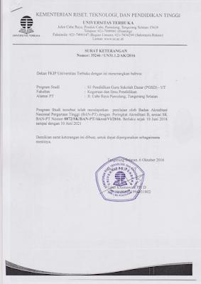 surat keterangan akreditasi universitas institut perguruan tinggi BAN-PT