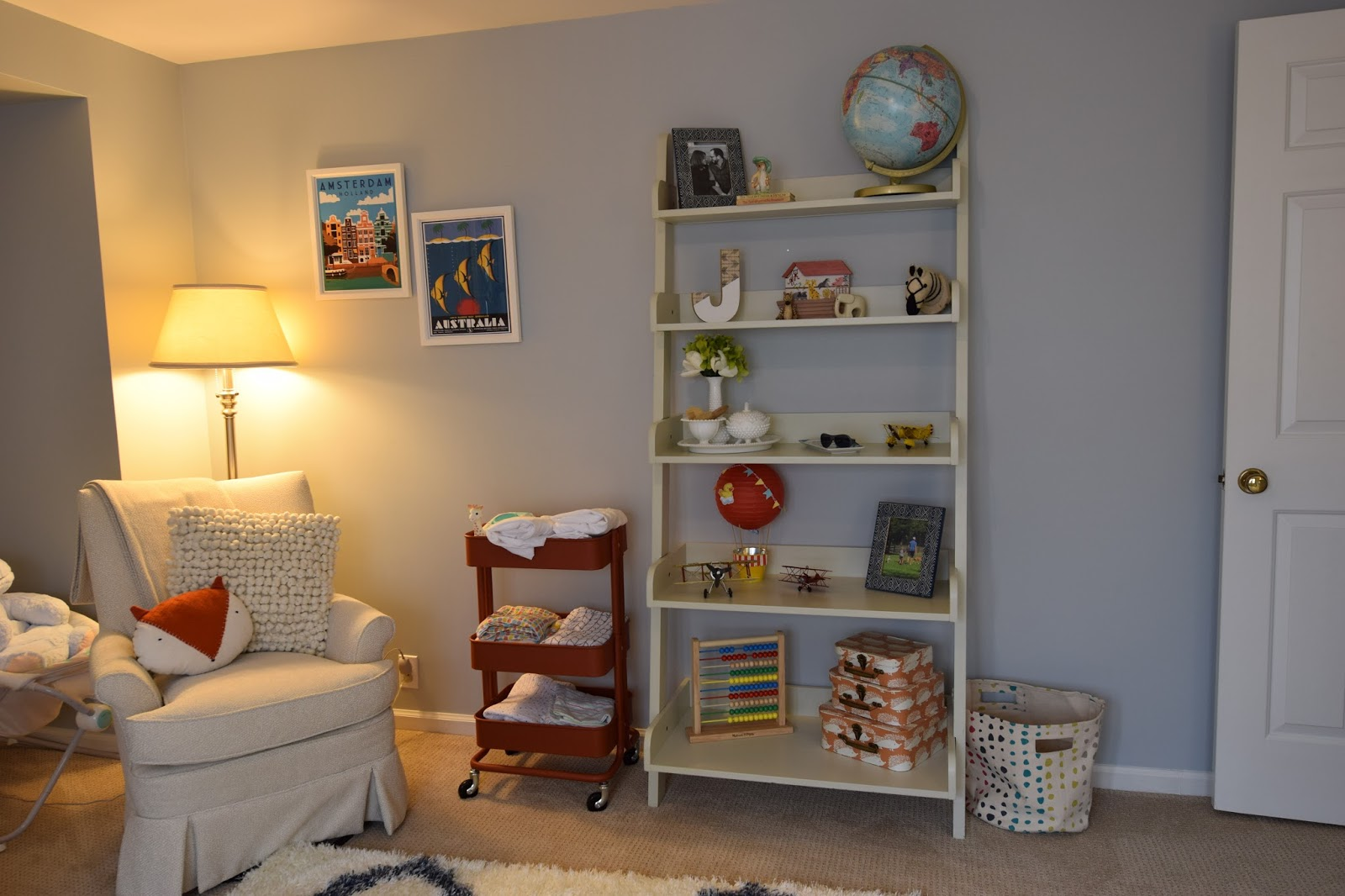 Pottery Barn Ladder Shelves , Chair Was A Hand Me Down That I Had  Reupholstered In Leftover Fabric That I Originally Used On Our Living Room  Couch,