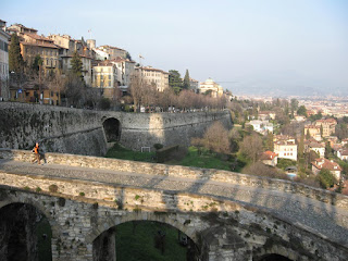 The walled Città Alta is one of the two centres of Bergamo