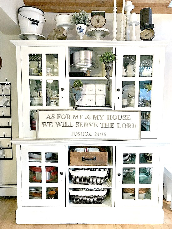 DIY bible verse sign on large hutch