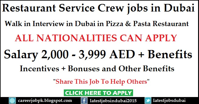 Walk in Interview in Dubai for Restaurant Crew Member