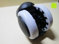 unten: LIHAO 5x Hartbodenrollen Drehstuhlrollen 10mm / 50mm Rollenset für Bürostuhl Schwarz Weiß